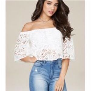 Bebe Melissa Cropped Top in White